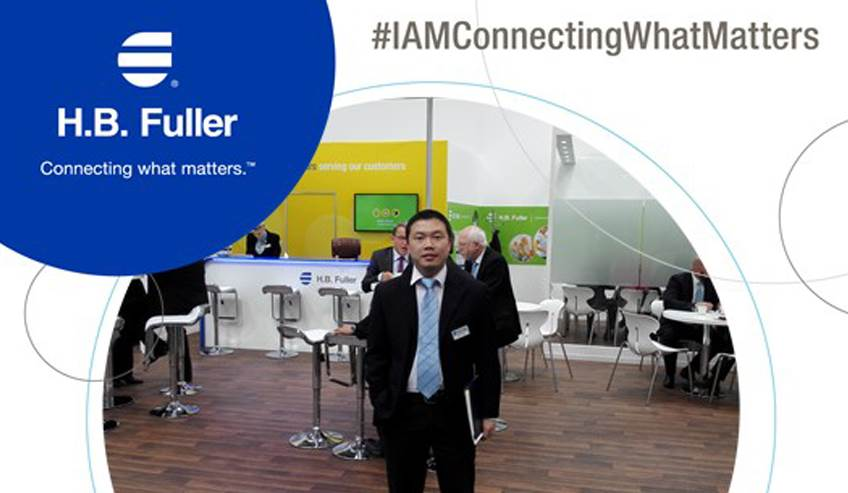 H.B. Fuller product manager at a tradeshow.