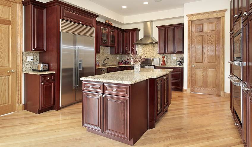 Kitchen with woodworking adhesives including for counter tops and cabinets.