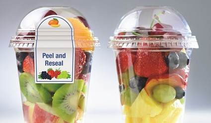 Plastic fruit cups with labels.