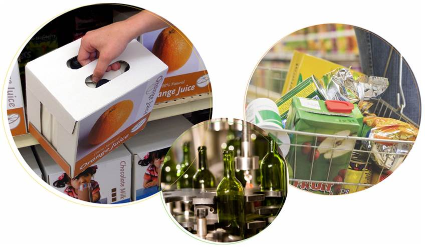 Different packaging solutions such as handle reinforcement, flexible packaging, and bottle labeling.