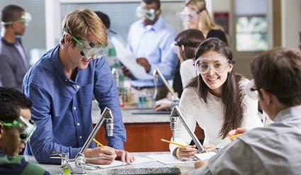 Students in a chemistry lab conducting experiments.