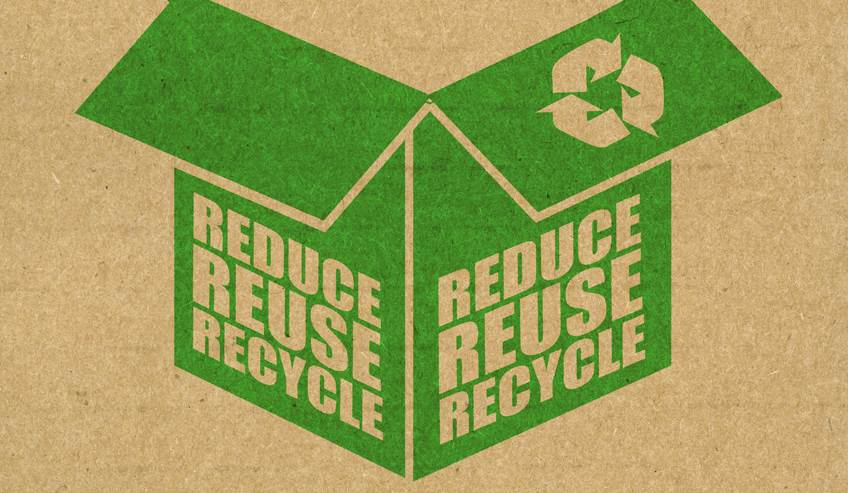 Drawing of a box with a recycling symbol on it.