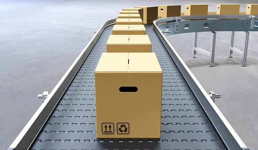 Case and carton boxes on a conveyor belt.