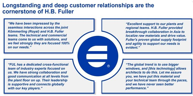 H.B. Fuller great customer service quotes.