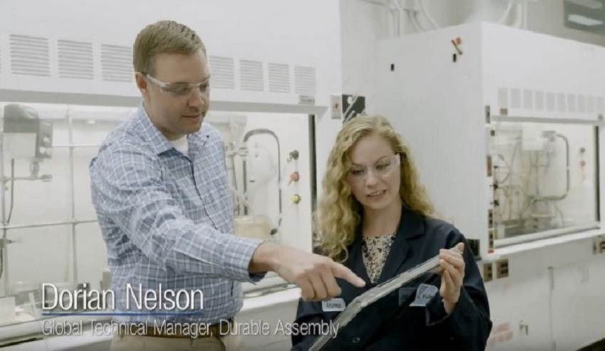 Innovation happening in the lab at H.B. Fuller global adhesives company.