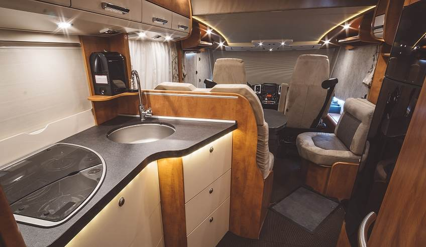 Inside of a small-sized recreational vehicle.