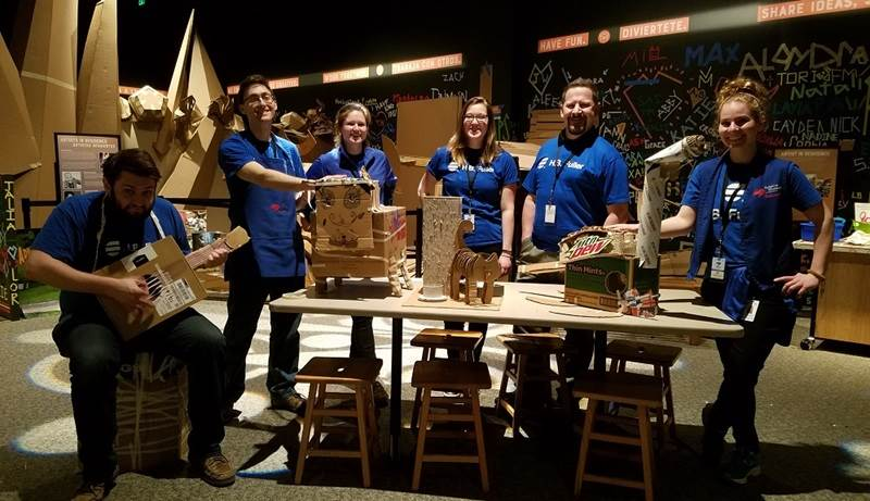 H.B. Fuller team volunteering at the cardboard gallery at the Minnesota Science Museum.