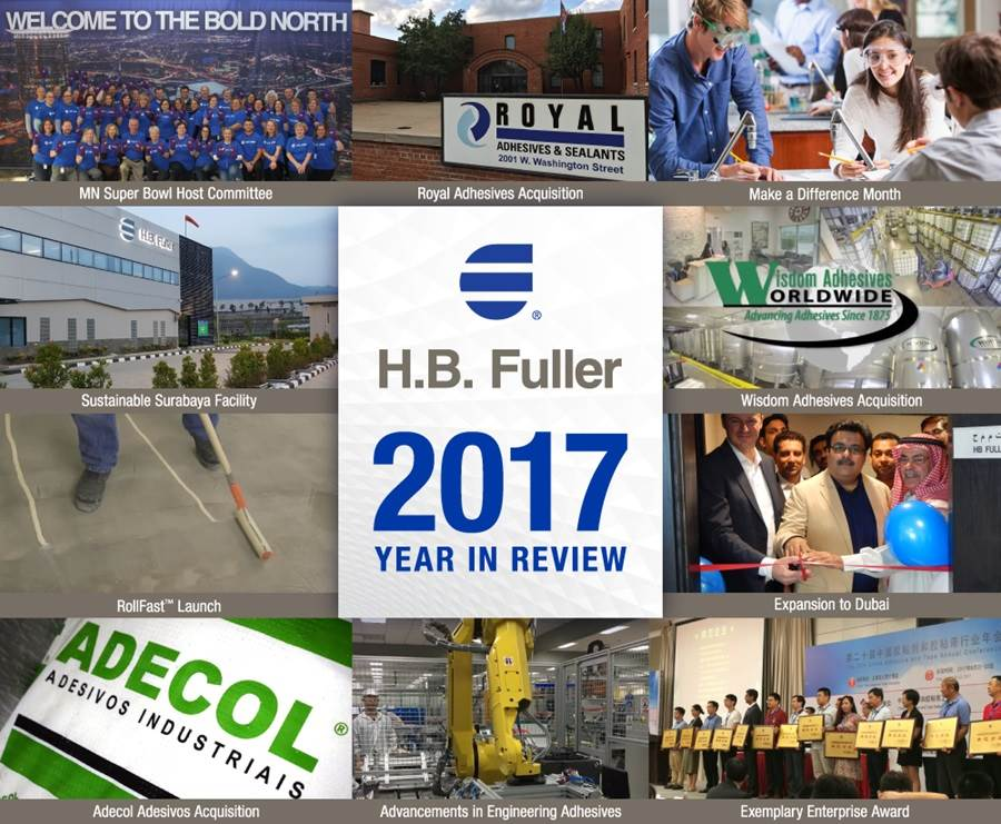 Collage of 2017 year in review for H.B. Fuller.