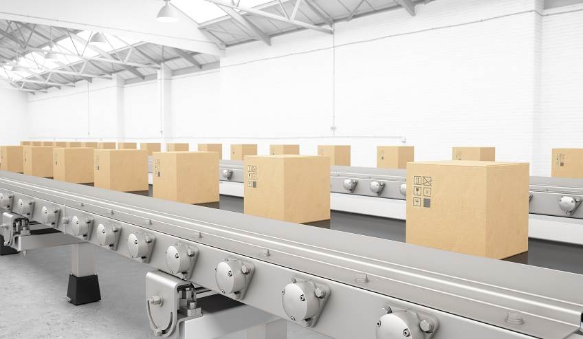 Boxes at the end of a line representing case and carton sealing.