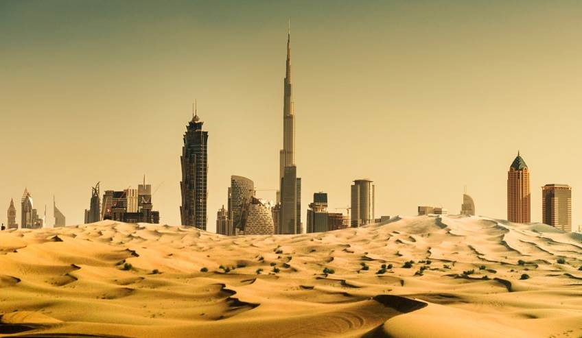 Dubai Skyline with dry dessert.