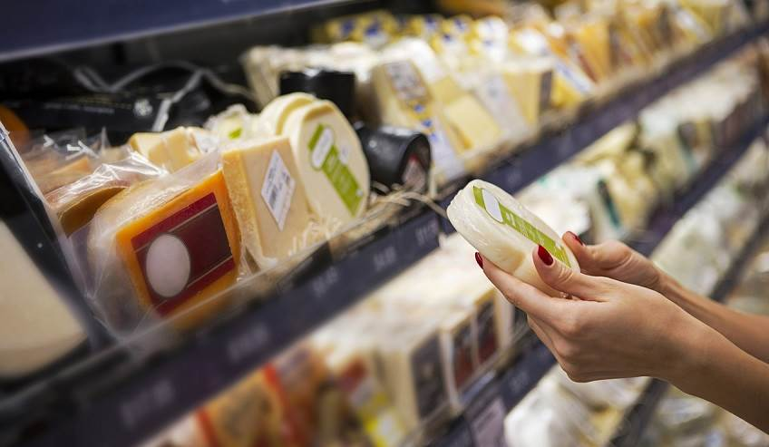 Self full of cheese packed in food safe flexible packaging.