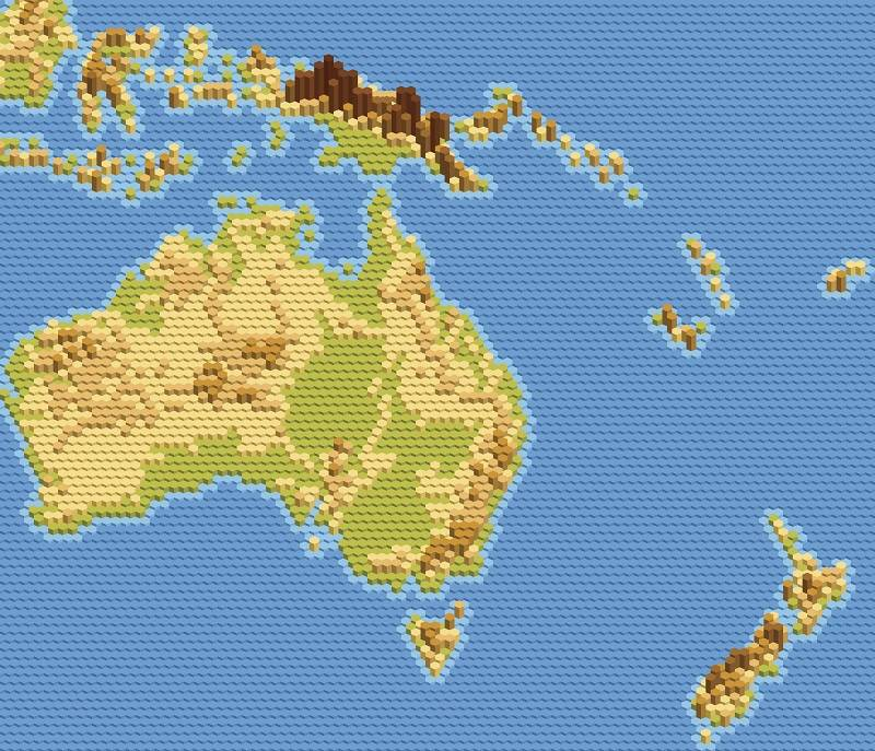 Map of Australia and New Zealand with environmental factors.