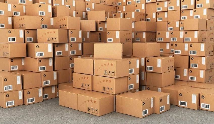 Piles of boxes with packaging labels.