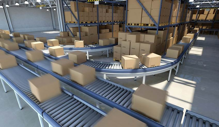 Boxes on conveyer belt