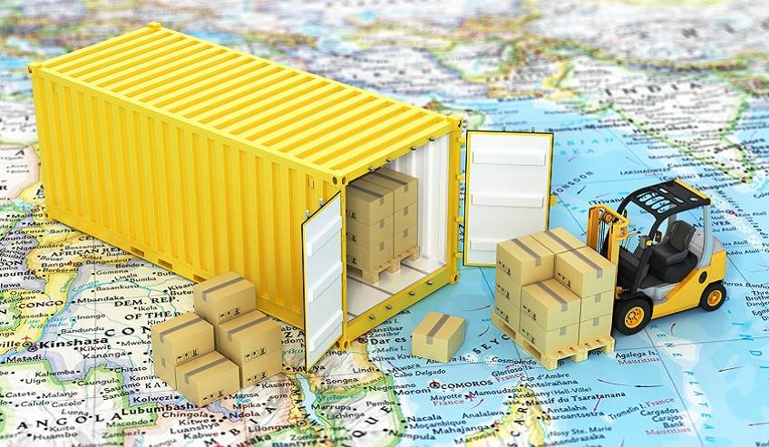 Shipping container on a world map.