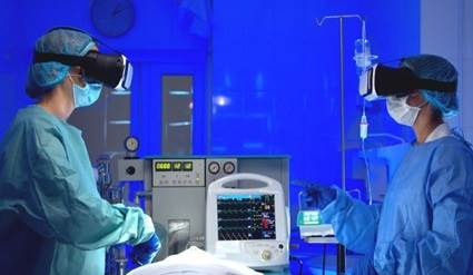 Surgeons wearing virtual realty goggles in operating room