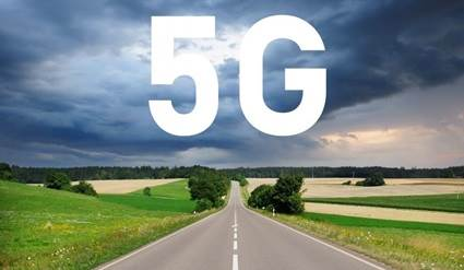 5G over a road with horizon in backdrop