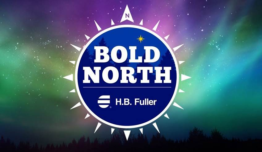 Bold north logo with the northern lights in the background.