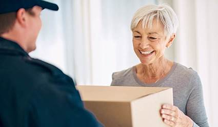 Woman receiving a package.