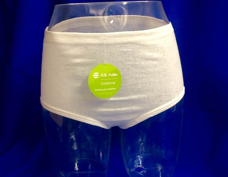 Disposable Underwear for Incontinence Made with Conforma™ Stretchable Adhesive
