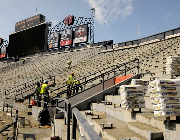 Construction workers using ProSpec in a Stadium build