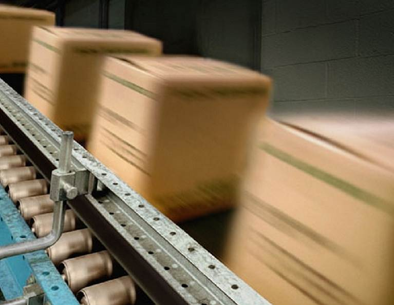 Boxes on a conveyor belt.