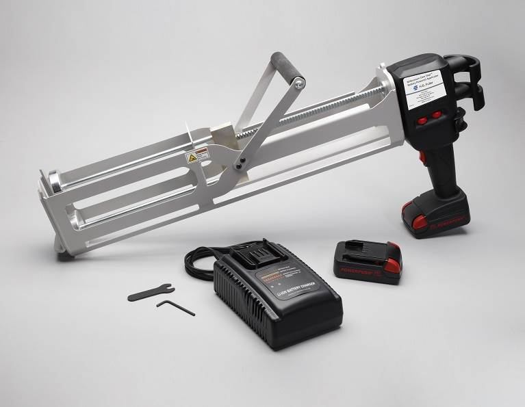 Battery applicator for commercial roofing adhesive application.