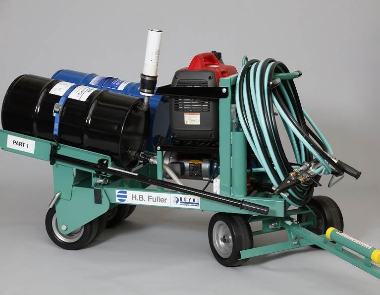 Cyclone generator and drum from H.B. Fuller for commercial roofing adhesive application.