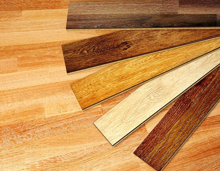 Selection of different colors of engineered wood flooring constructed with H.B. Fuller adhesives.