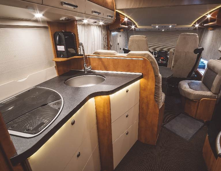 Inside of an RV demonstrating industrial millwork adhesives from H.B. Fuller.