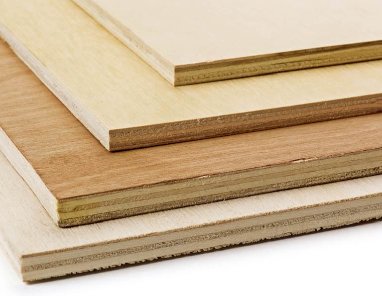 Closeup of the layers of different plywood composed with with H.B. Fuller's adhesive coated solutions.