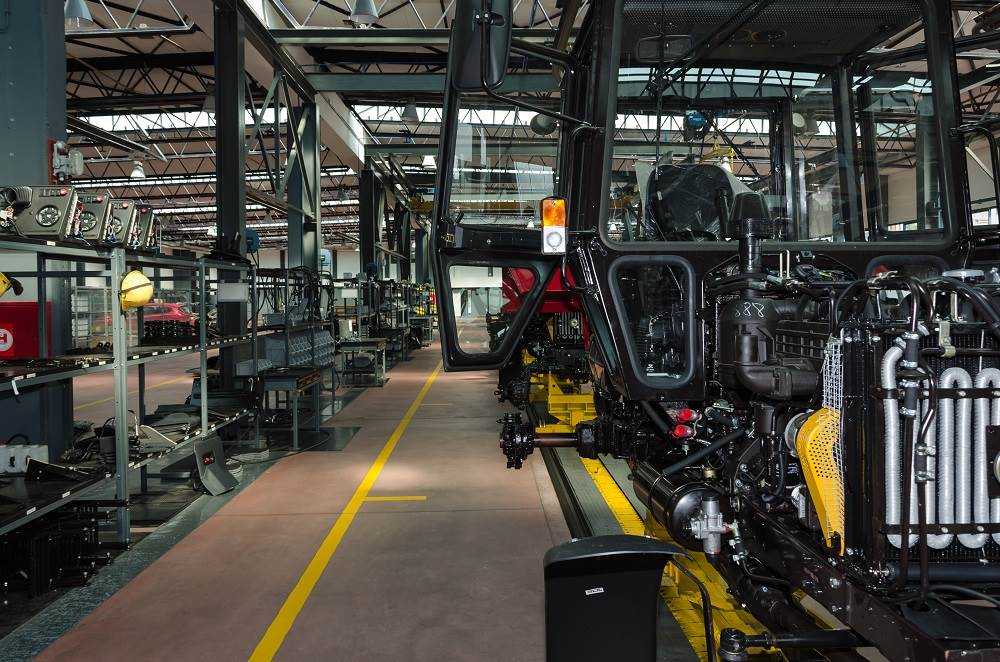 Inside of a tractor manufacturing facility.