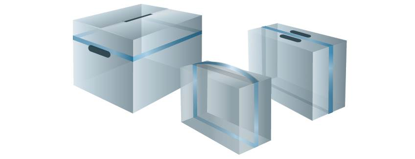 Schematic of boxes utilizing handle reinforcement adhesive solutions from H.B. Fuller.