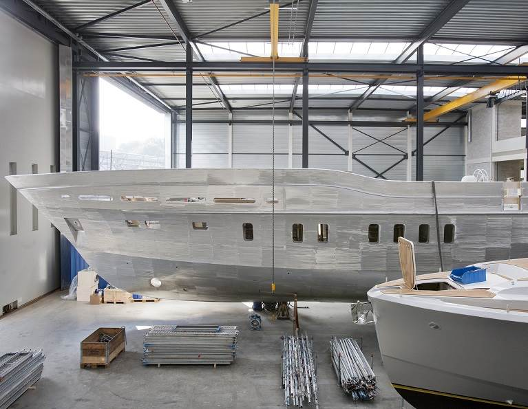 Boat being built.
